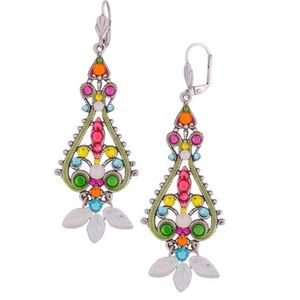 Bright Crystal Filigree Silver Earrings,NWT